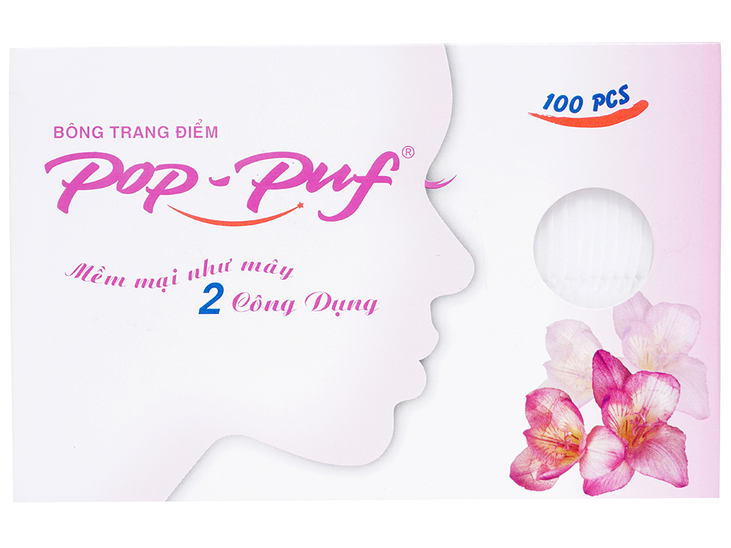 Bông trang điểm PoP-Puf 2 công dụng hộp 100 miếng 2