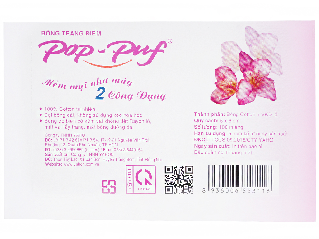 Bông trang điểm PoP-Puf 2 công dụng hộp 100 miếng 3