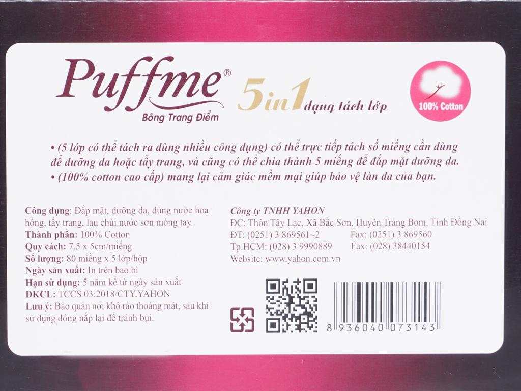 Bông trang điểm Puffme 5 trong 1 dạng tách lớp 80 miếng 2