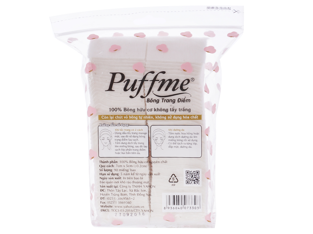 Bông trang điểm Puffme Organic bịch 90 miếng 2