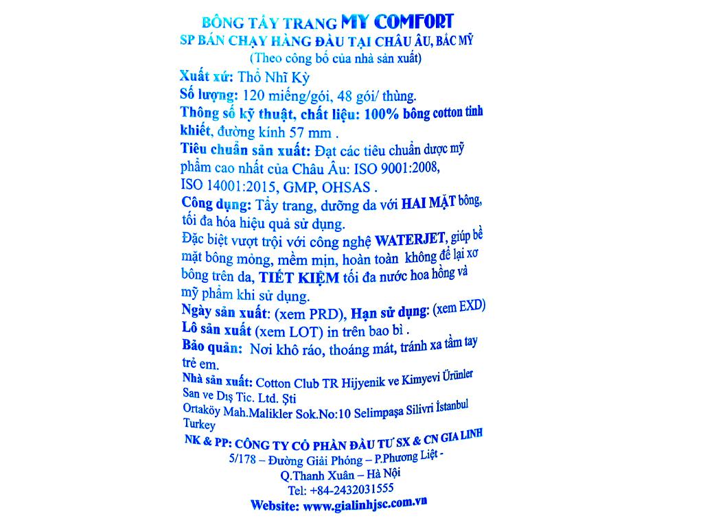 Bông tẩy trang My Comfort túi 120 miếng 3