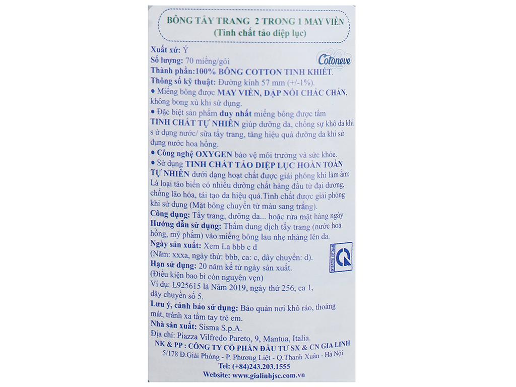 Bông tẩy trang Cotoneve 2 trong 1 túi 70 miếng (xanh) 3