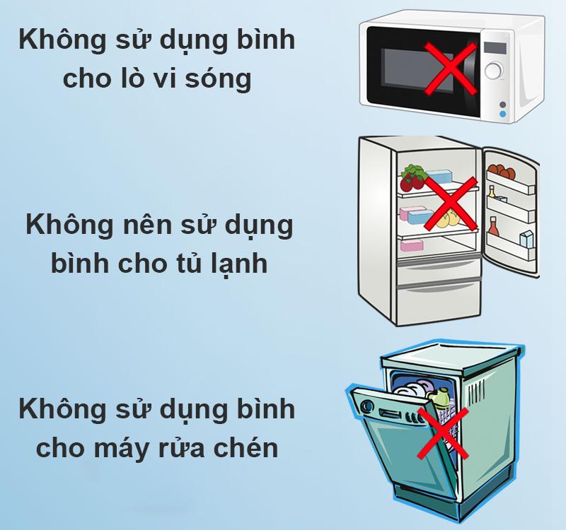Không sử dụng bình giữ nhiệt inox 530ml DMX Y1 trong tủ lạnh, lò vi sóng, máy rửa chén