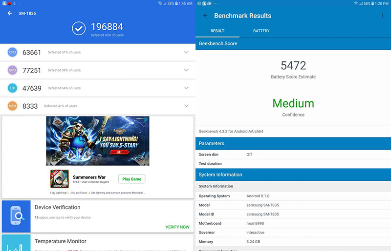 Điểm hiệu năng Antutu Benchmark trên Samsung Galaxy Tab S4