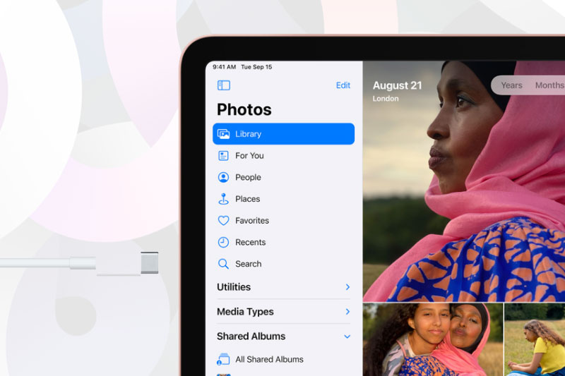 USB C dễ dàng kết nối với phụ kiện mở rộng | iPad Air 4