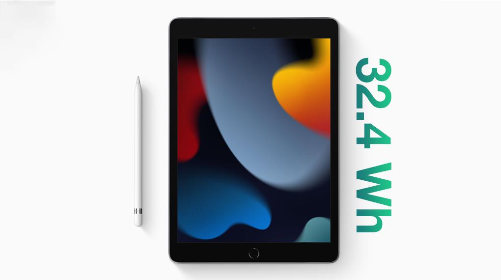 Dung lượng pin 32.4 Wh - iPad 9 WiFi 64GB