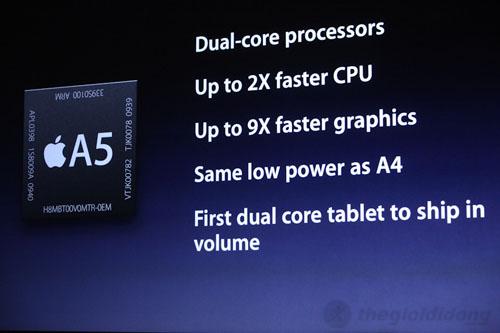 iPad 2 3G 16GB có chip A5 lõi kép mạnh hơn chip A4 khá nhiều