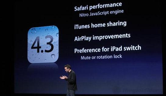 iOS 4.3 với nhiều cải tiến trên iPad 2 3G 16GB