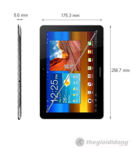 Kích thước của  Samsung Galaxy Tab 10-1 3G 16G