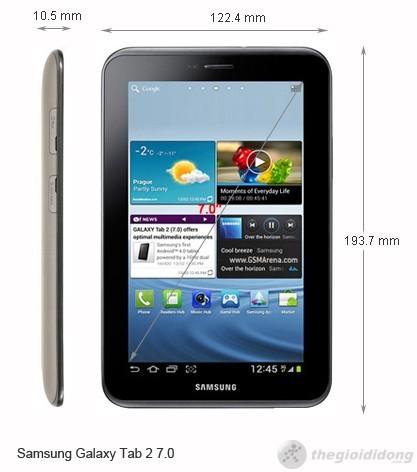 Kích thước Samsung Galaxy Tab 2 7.0