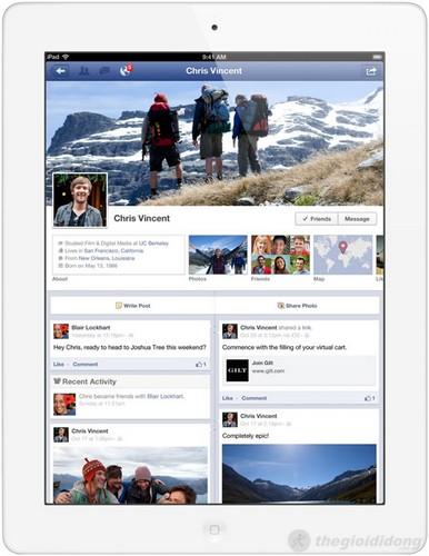 Giao diện Facebook trên ipad 4