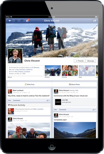Kết nối Facebook bất cứ nơi đâu với iPad mini