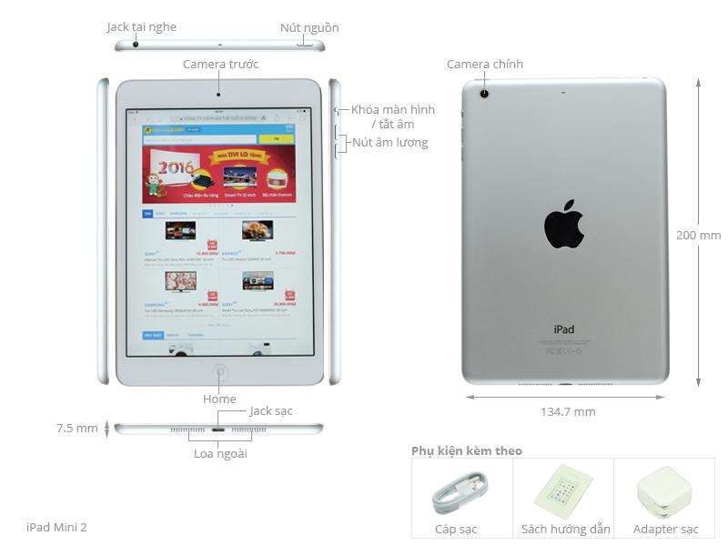 Thông số kỹ thuật Máy tính bảng iPad Mini 2 Retina 16G/Wifi