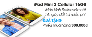 iPad Mini 2 Retina Cellular 16GB/Wifi/3G