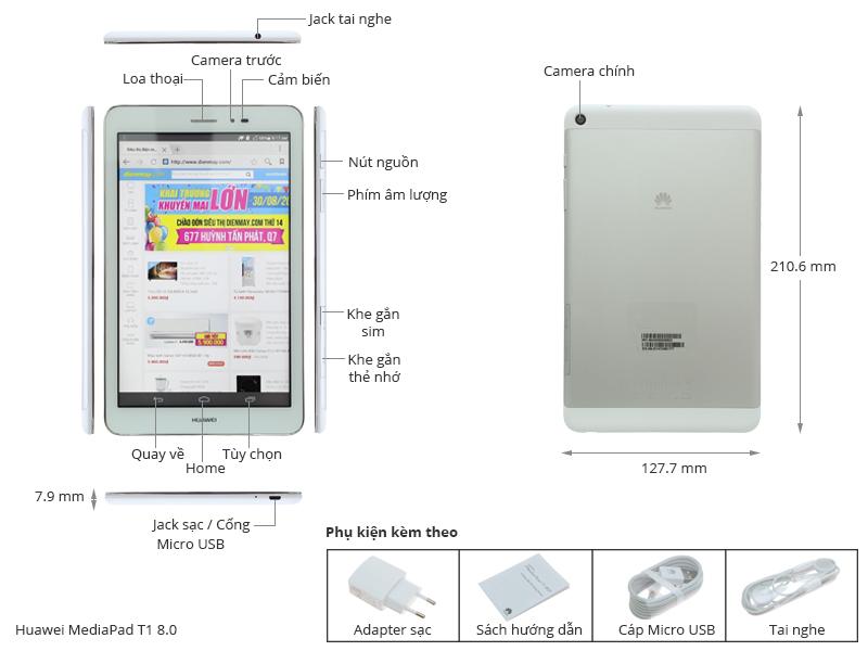 Thông số kỹ thuật Máy tính bảng Huawei MediaPad T1 8.0