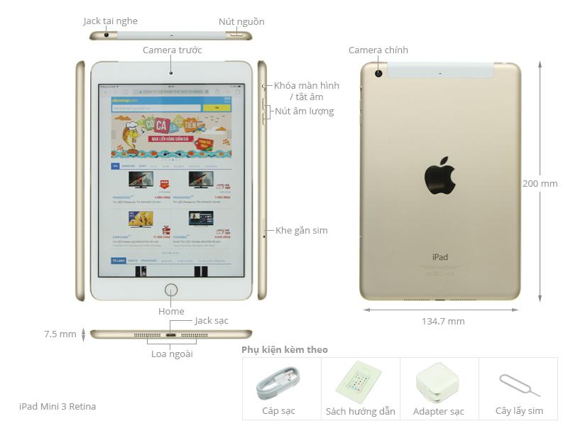 Thông số kỹ thuật Máy tính bảng iPad Mini 3 Retina Cellular 16GB