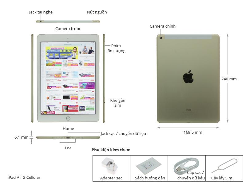 Thông số kỹ thuật Máy tính bảng iPad Air 2 Cellular 64GB