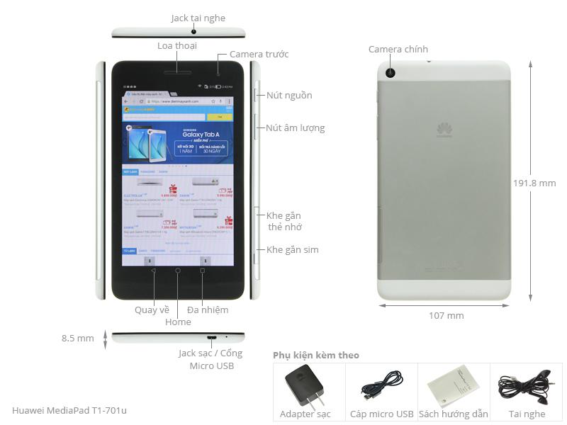 Thông số kỹ thuật Máy tính bảng Huawei MediaPad T1-701u