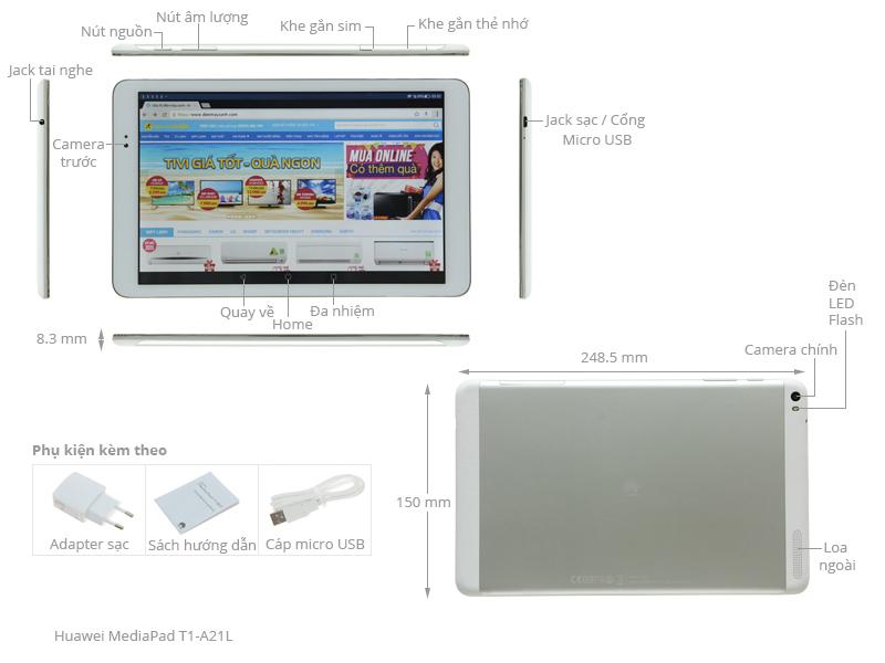 Thông số kỹ thuật Máy tính bảng Huawei MediaPad T1-A21L