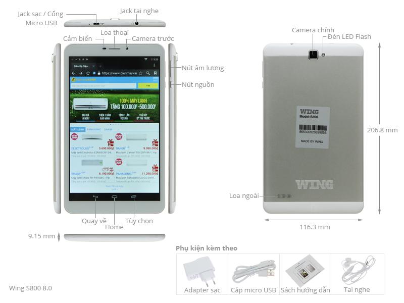 Thông số kỹ thuật Máy tính bảng Wing S800 8.0
