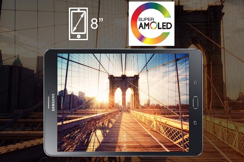 Công nghệ hiển thị Super AMOLED đem lại màu sắc rất tốt, không bị ám xanh, góc nhìn xung quanh rất rộng trên màn hình 9.7 inch