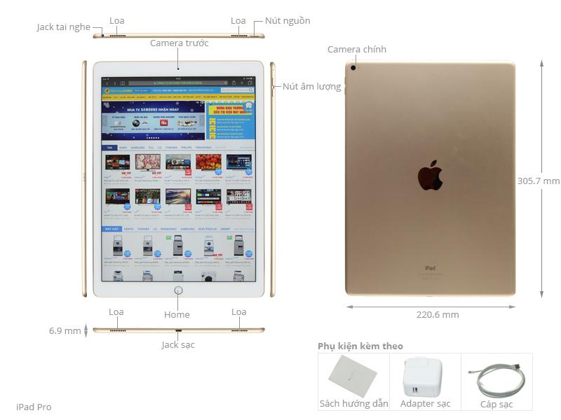 Thông số kỹ thuật Máy tính bảng iPad Pro Wifi 32GB