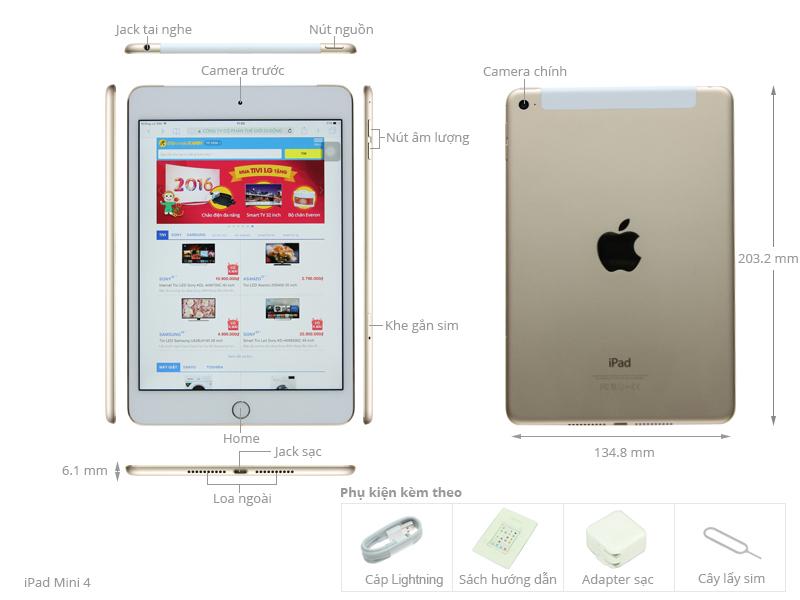 Thông số kỹ thuật Máy tính bảng iPad Mini 4 Wifi Cellular 64GB
