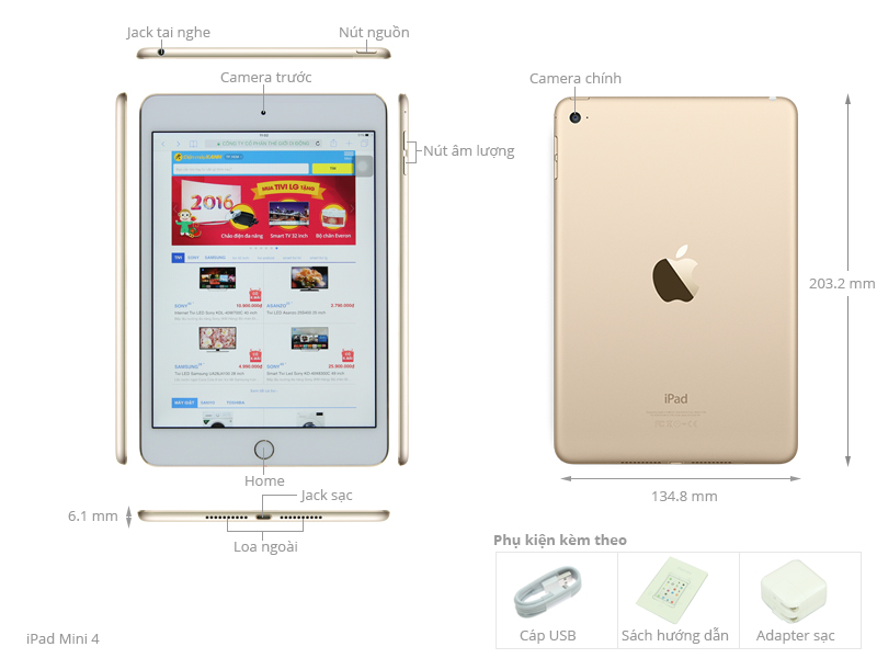 Thông số kỹ thuật Máy tính bảng iPad Mini 4 Wifi 16GB