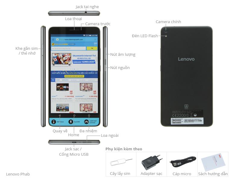Thông số kỹ thuật Máy tính bảng Lenovo Phab 2GB