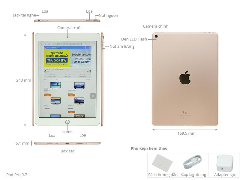 Thông số kỹ thuật Máy tính bảng iPad Pro 9.7 inch Wifi 128GB