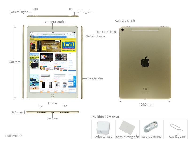 Thông số kỹ thuật Máy tính bảng iPad Pro 9.7 inch Wifi Cellular 256GB