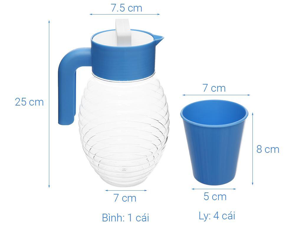 Bộ bình 2.5 lít và 4 ly nhựa Đồng Tâm (giao màu ngẫu nhiên) 5