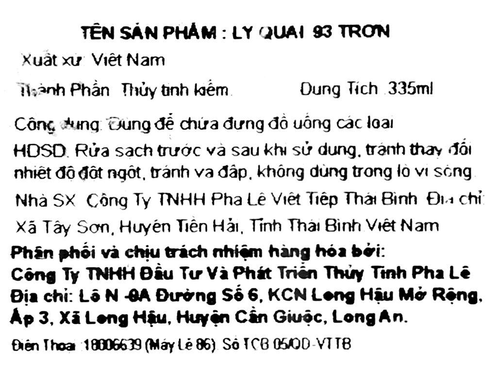 Ly thủy tinh có quai 335ml Việt Tiệp VTC 93 7