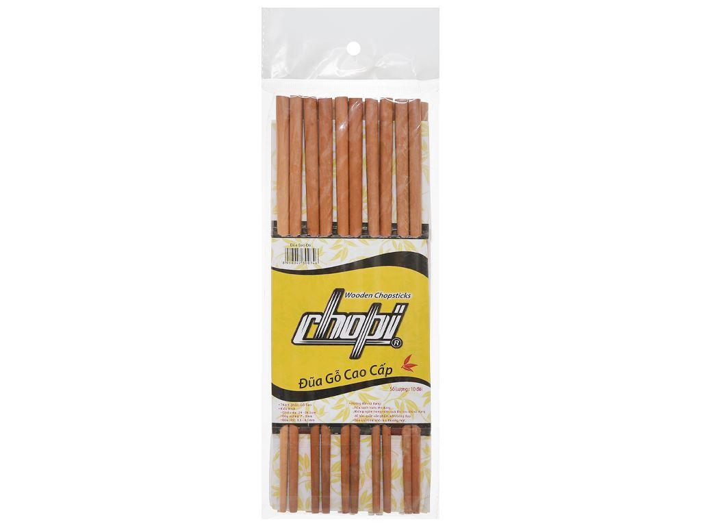 Bộ 10 đôi đũa gỗ sao đá 25cm Chopi 2