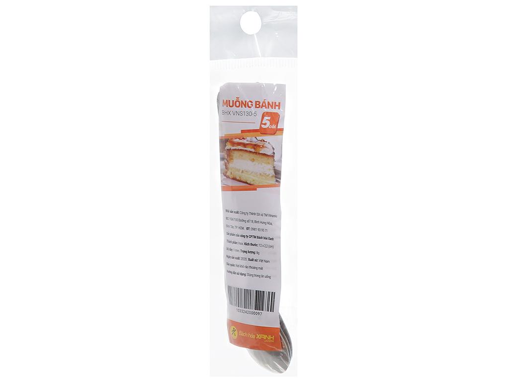 Bộ 5 muỗng bánh inox cán dài 12 cm Bách hóa XANH VNS130-5 2