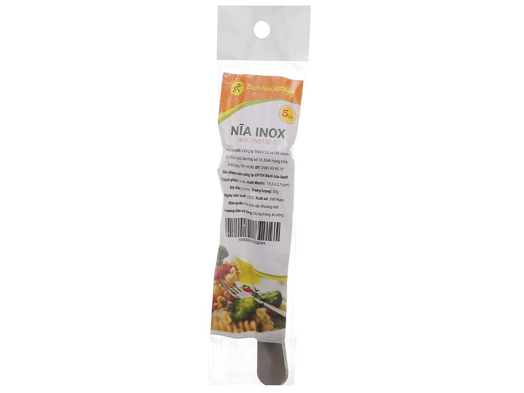 Bộ 5 nĩa inox cán dài trơn 18.5 cm Bách hóa XANH VNS132-5 2