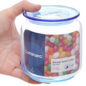 Hũ đựng thực phẩm thủy tinh tròn 500ml Luminarc Rondo (giao màu ngẫu nhiên)