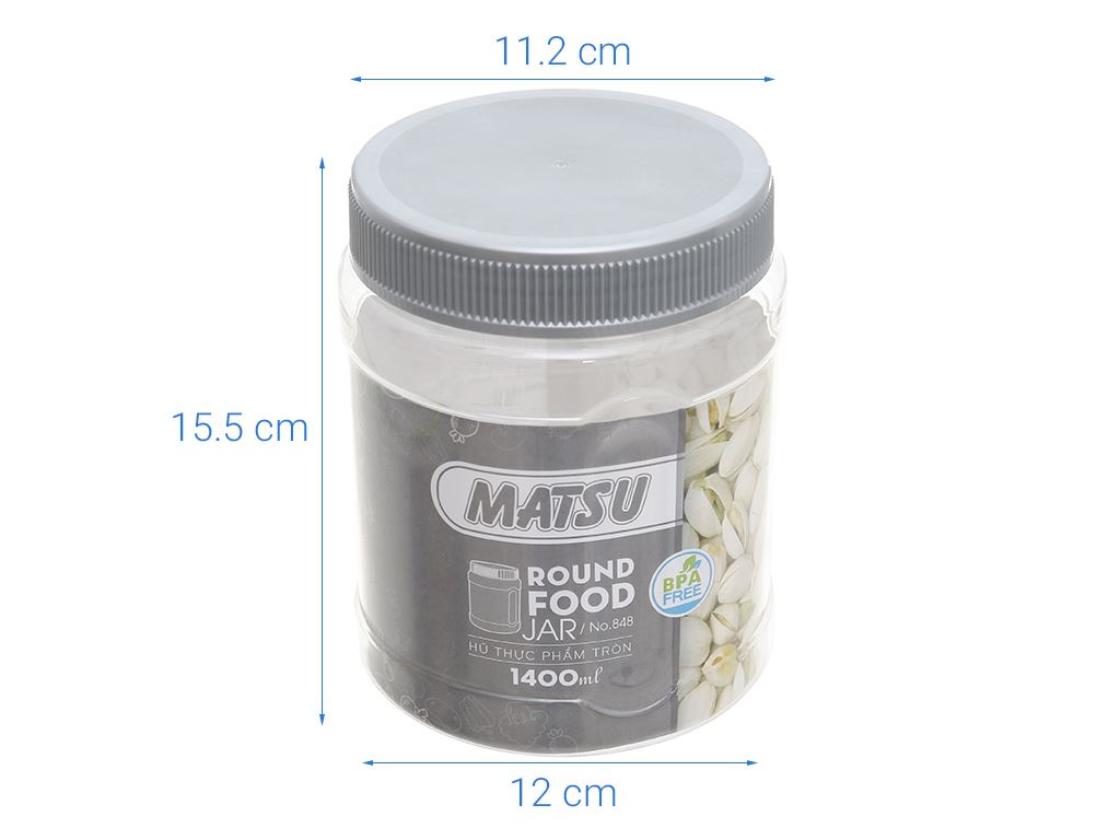 Hũ đựng thực phẩm tròn nhựa Duy Tân Matsu (giao màu ngẫu nhiên) 1.4 lít 4