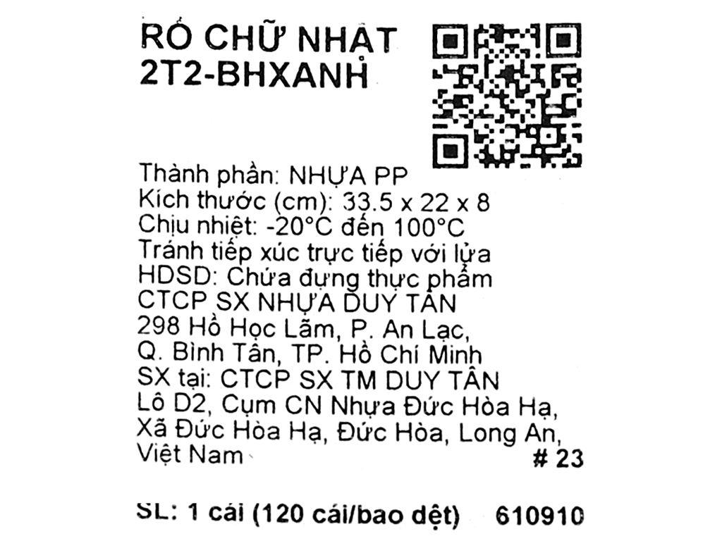 Rổ nhựa chữ nhật Duy Tân 2T2 30cm (giao màu ngẫu nhiên) 8