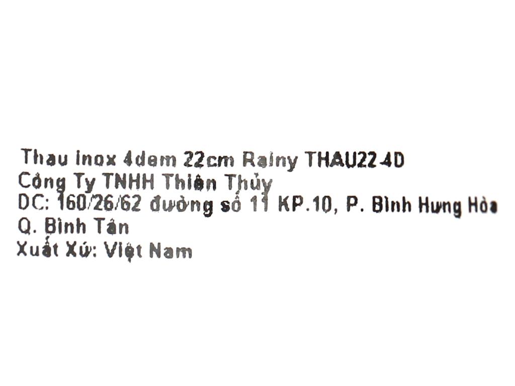 Thau inox tròn Rainy THAU 22-4D 22cm 7