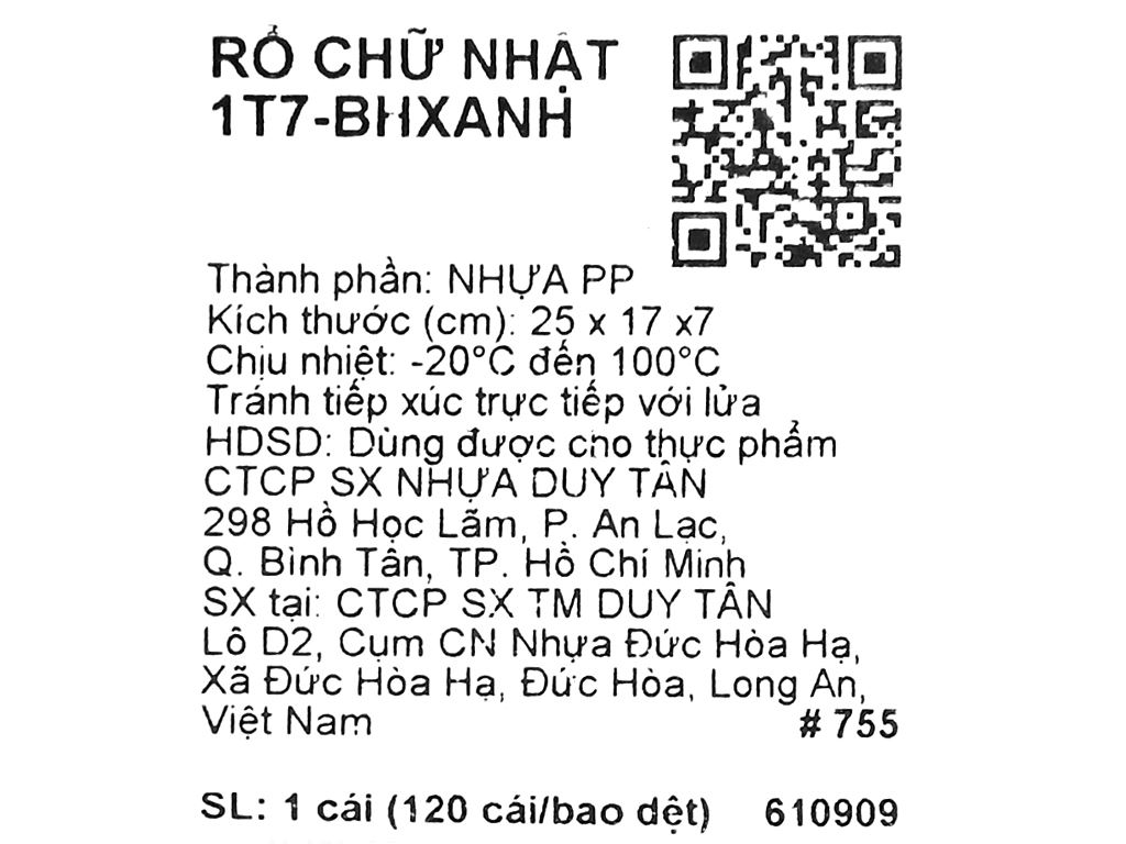 Rổ nhựa chữ nhật Duy Tân 1T7 24cm (giao màu ngẫu nhiên) 8