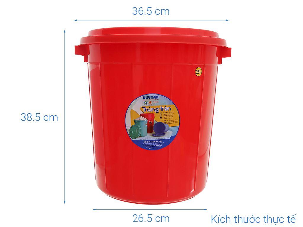 Thùng đựng nước nhựa tròn có nắp Duy Tân 25 lít (giao màu ngẫu nhiên) 12