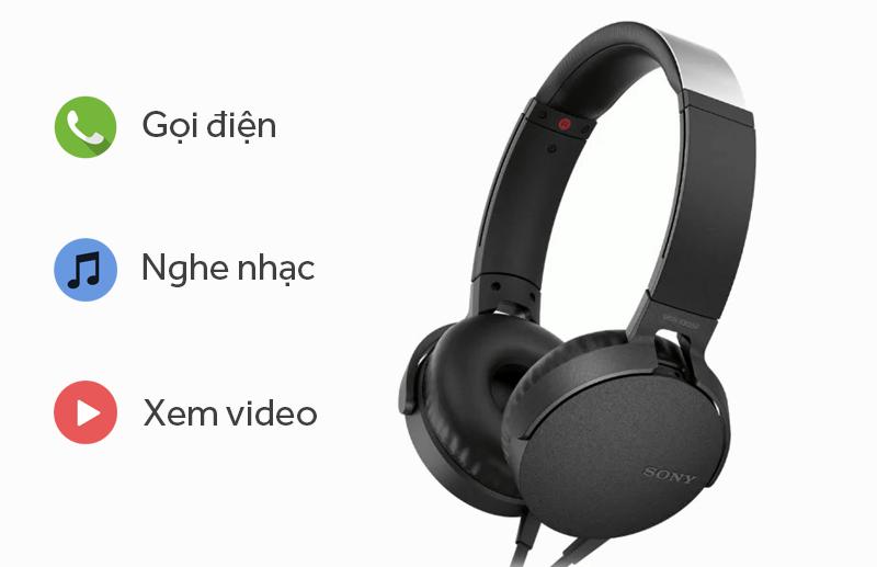 Tai nghe chụp tai Sony MDR-XB550AP - Kết nối và nút ấn tương tác