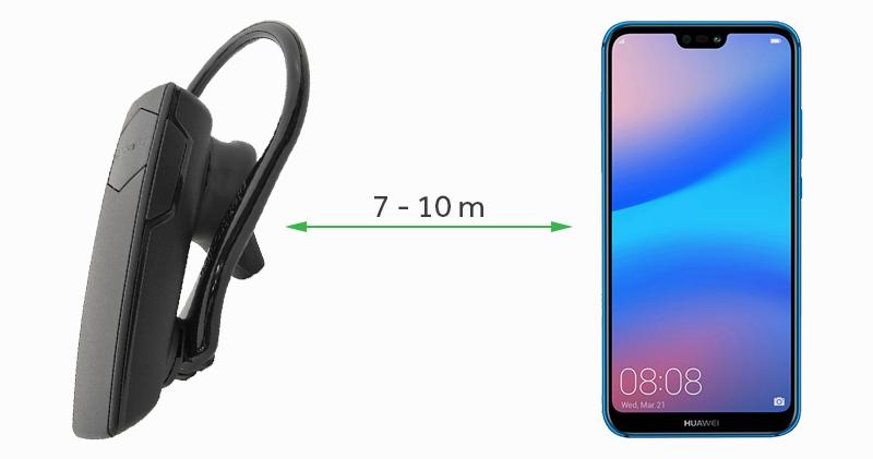 Tai nghe Bluetooth Plantronics Explorer 10 đen với khoảng cách kết nối từ 7 - 10 m