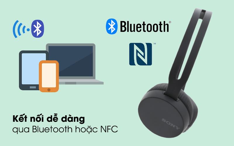 Kết nối qua bluetooth hoặc NFC - Tai nghe chụp tai Bluetooth Sony WH-CH400