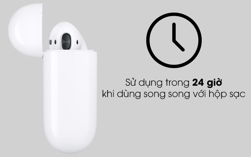 Tai nghe Bluetooth AirPods 2 Wireless charge Apple MRXJ2 Trắng dùng được 24 giờ