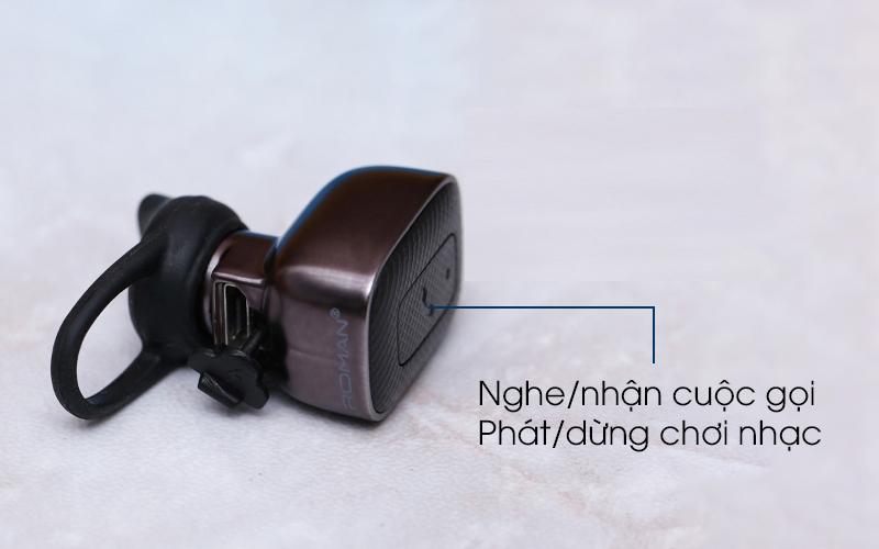 Tai nghe Bluetooth Roman Q5C đen với nút điều khiển tiện ích