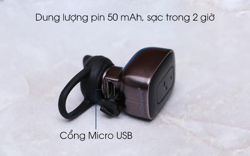 Tai nghe Bluetooth Roman Q5C Đen có cổng sạc Micro USB