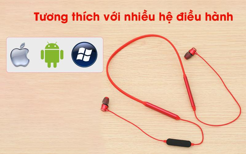 Tai nghe Bluetooth Mozard Q6 Đỏ tương thích nhiều hệ điều hành khác nhau