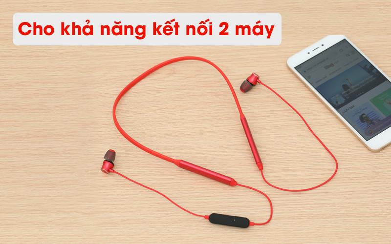 Tai nghe Bluetooth Mozard Q6 Đỏ kết nối được 2 máy